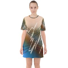 Pop Art Edit Artistic Wallpaper Sixties Short Sleeve Mini Dress