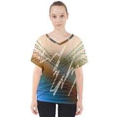 Pop Art Edit Artistic Wallpaper V-Neck Dolman Drape Top