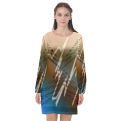 Pop Art Edit Artistic Wallpaper Long Sleeve Chiffon Shift Dress