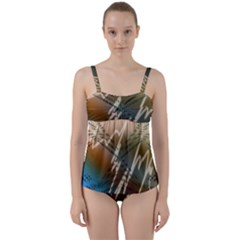 Pop Art Edit Artistic Wallpaper Twist Front Tankini Set