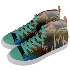 Pop Art Edit Artistic Wallpaper Women s Mid-Top Canvas Sneakers