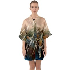 Pop Art Edit Artistic Wallpaper Quarter Sleeve Kimono Robe