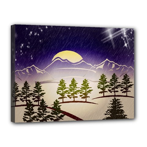 Background Christmas Snow Figure Canvas 16  X 12  by Nexatart