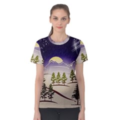 Background Christmas Snow Figure Women s Cotton Tee