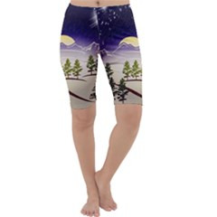 Background Christmas Snow Figure Cropped Leggings  by Nexatart