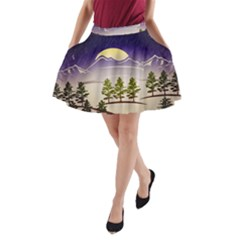 Background Christmas Snow Figure A Line Pocket Skirt by Nexatart