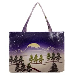 Background Christmas Snow Figure Zipper Medium Tote Bag by Nexatart