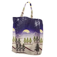 Background Christmas Snow Figure Giant Grocery Zipper Tote