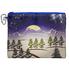 Background Christmas Snow Figure Canvas Cosmetic Bag (xxl)