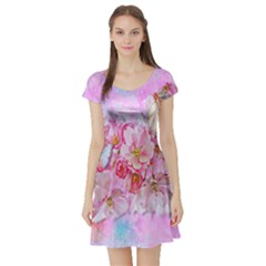 Nice Nature Flowers Plant Ornament Short Sleeve Skater Dress