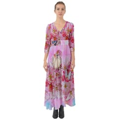Nice Nature Flowers Plant Ornament Button Up Boho Maxi Dress