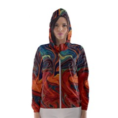 Creativity Abstract Art Hooded Wind Breaker (women)