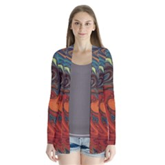 Creativity Abstract Art Drape Collar Cardigan