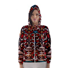 Decoration Art Pattern Ornate Hooded Wind Breaker (women)