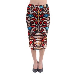 Decoration Art Pattern Ornate Midi Pencil Skirt