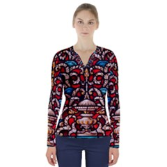 Decoration Art Pattern Ornate V Neck Long Sleeve Top