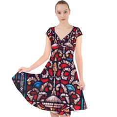 Decoration Art Pattern Ornate Cap Sleeve Front Wrap Midi Dress