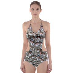 Droplets Pane Drops Of Water Cut Out One Piece Swimsuit