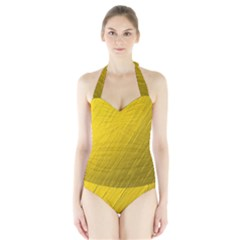 Golden Texture Rough Canvas Golden Halter Swimsuit