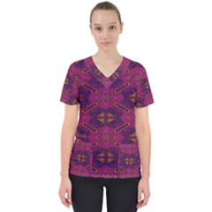 Pattern Decoration Art Abstract Scrub Top