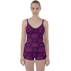 Pattern Decoration Art Abstract Tie Front Two Piece Tankini