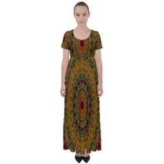 India Mystic Background Ornamental High Waist Short Sleeve Maxi Dress
