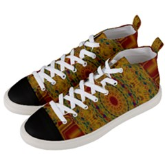 India Mystic Background Ornamental Men s Mid Top Canvas Sneakers by Nexatart