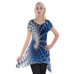 Mandelbrot Fractal Abstract Ice Short Sleeve Side Drop Tunic