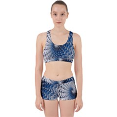 Mandelbrot Fractal Abstract Ice Work It Out Sports Bra Set
