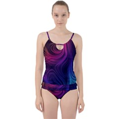 Abstract Pattern Art Wallpaper Cut Out Top Tankini Set