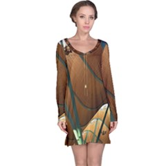 Airport Pattern Shape Abstract Long Sleeve Nightdress