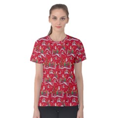 Red Background Christmas Women s Cotton Tee