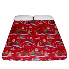 Red Background Christmas Fitted Sheet (king Size)