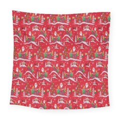 Red Background Christmas Square Tapestry (large) by Nexatart