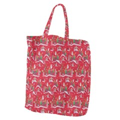 Red Background Christmas Giant Grocery Zipper Tote