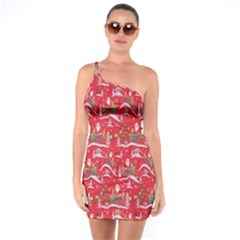 Red Background Christmas One Soulder Bodycon Dress