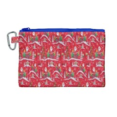 Red Background Christmas Canvas Cosmetic Bag (large) by Nexatart