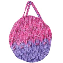 Wool Knitting Stitches Thread Yarn Giant Round Zipper Tote