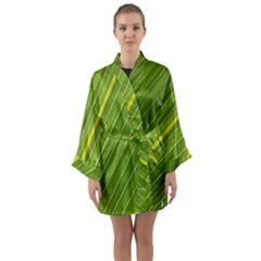 Leaf Plant Nature Pattern Long Sleeve Kimono Robe