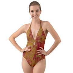 Texture Pattern Abstract Art Halter Cut Out One Piece Swimsuit