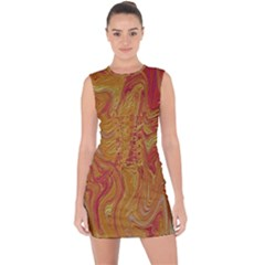 Texture Pattern Abstract Art Lace Up Front Bodycon Dress
