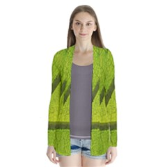 Green Leaf Plant Nature Structure Drape Collar Cardigan