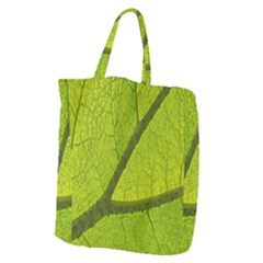 Green Leaf Plant Nature Structure Giant Grocery Zipper Tote