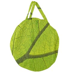 Green Leaf Plant Nature Structure Giant Round Zipper Tote