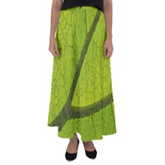 Green Leaf Plant Nature Structure Flared Maxi Skirt