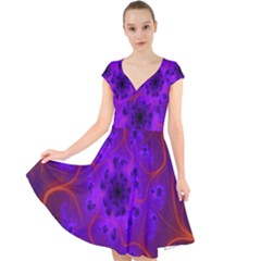 Fractal Mandelbrot Julia Lot Cap Sleeve Front Wrap Midi Dress
