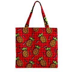 Fruit Pineapple Red Yellow Green Zipper Grocery Tote Bag