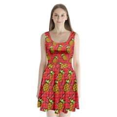 Fruit Pineapple Red Yellow Green Split Back Mini Dress