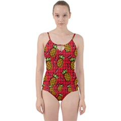 Fruit Pineapple Red Yellow Green Cut Out Top Tankini Set