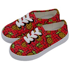 Fruit Pineapple Red Yellow Green Kids  Classic Low Top Sneakers by Alisyart